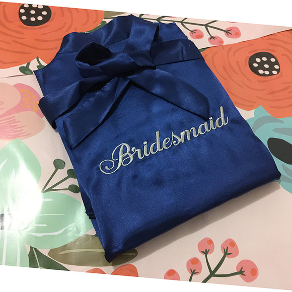 Personalised Navy Blue Satin Robe - Gowns.sg