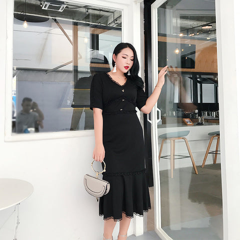 Pleated Fishtail Hem Plus Dress (L-4XL)