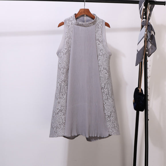 Lace Trimmed Shift Dress - Gowns.sg