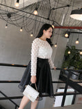 Soft Polka Round-Neck Plus Top (L-4XL) - Gowns.sg