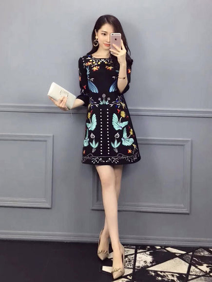 Patterned Elbow Dress (L onwards) - Gowns.sg