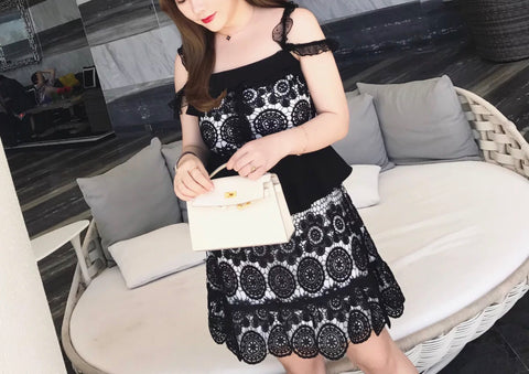 Geometric Lace Plus Dress (L-3XL) - Gowns.sg