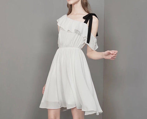 One Shoulder Ribbon Strap Dress (XS/S/M)
