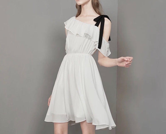 One Shoulder Ribbon Strap Dress (XS/S/M) - Gowns.sg