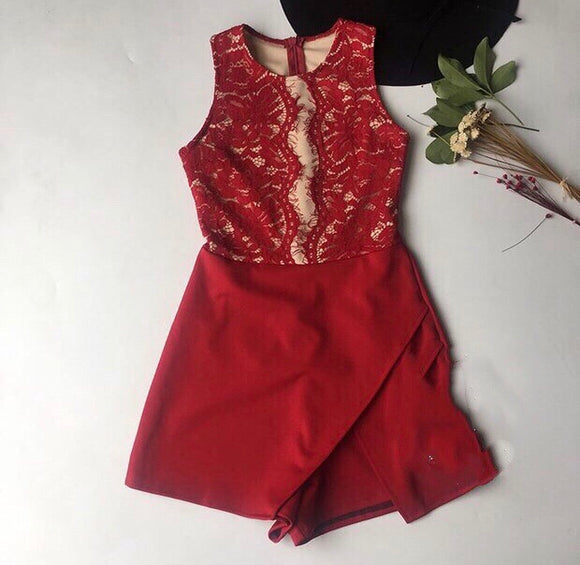 Lace Romper in red - Gowns.sg