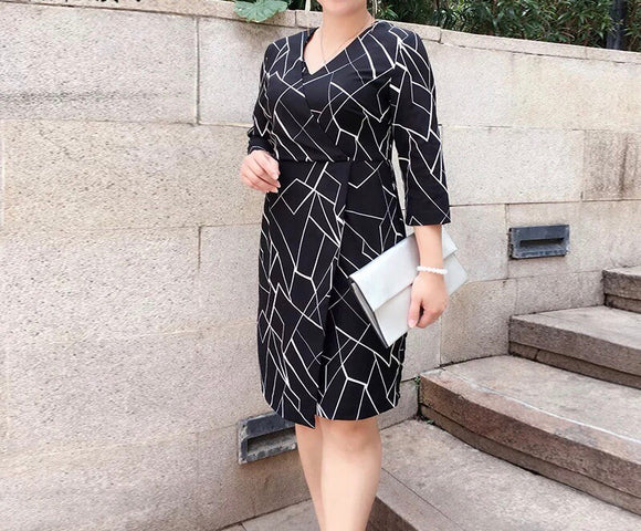 Marbled Pattern Plus Dress (XL-6XL) - Gowns.sg