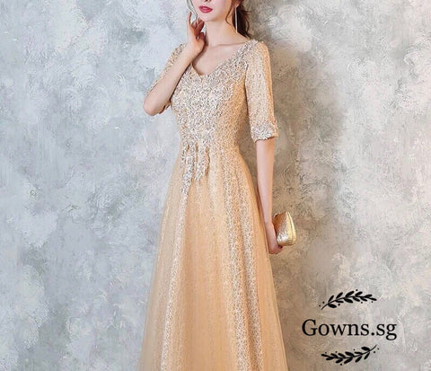 Ivanka Sleeve Evening Gown - Gowns.sg
