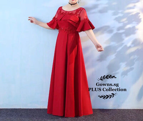Pleated Front Dress (XL-4XL) - Gowns.sg