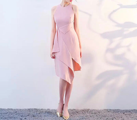 Asymmetric Hem Dress in Rose (S-XL) - Gowns.sg