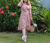 Sweetest Floral Wrap Dress (L-5XL) - Gowns.sg