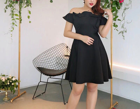 Off Shoulder Classic Dress in Black (L-3XL) - Gowns.sg