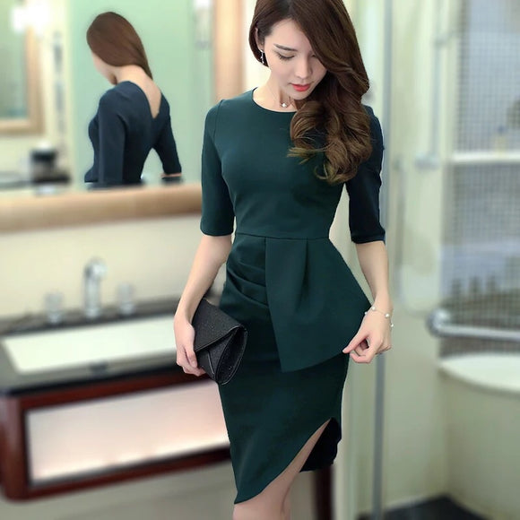 Fitted Pencil Dress in Forest - Gowns.sg