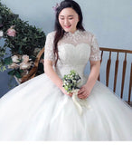 Mandarin Illusion Plus Wedding Gown (L-4XL) - Gowns.sg