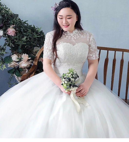 Mandarin Illusion Plus Wedding Gown (L-4XL)
