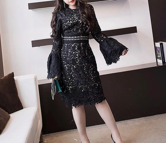 Lace Dress with Flare Sleeves (L-5XL) - Gowns.sg