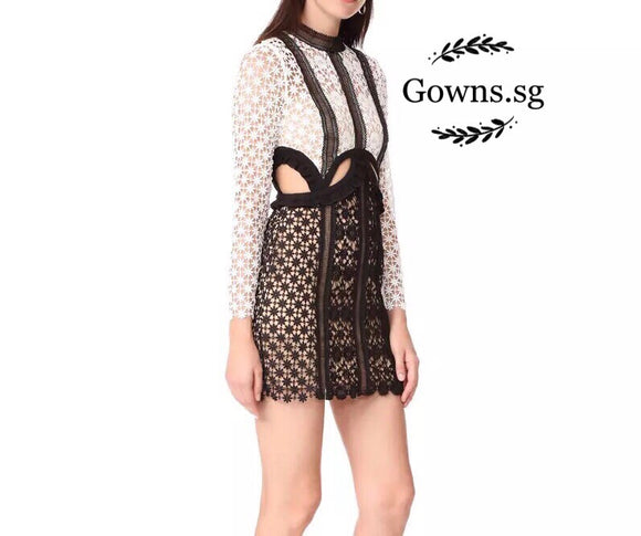 Panel Lace Dress - Gowns.sg