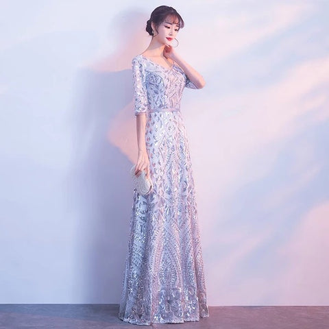 Loretta Sleeve Sequinned Gown - Gowns.sg