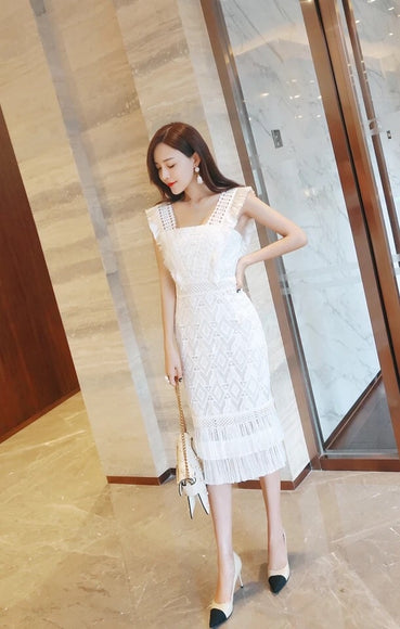 Melissa Lace Frill Dress - Gowns.sg