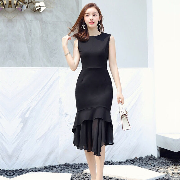 Extended Fishtail Hem Dress (S/M/L) - Gowns.sg