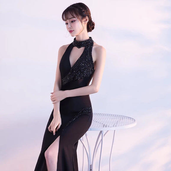 Black Cut Out Halter gown - Gowns.sg