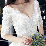 Spenser Lace Elbow Sleeve Gown (S-4XL) - Gowns.sg