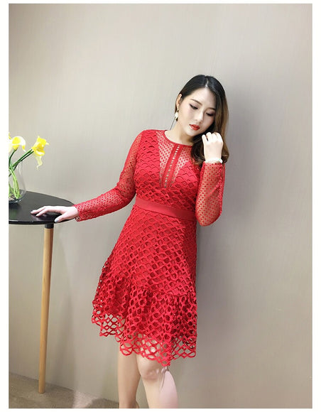 Plunging Neckline Lace Dress (L to 4XL) - Gowns.sg