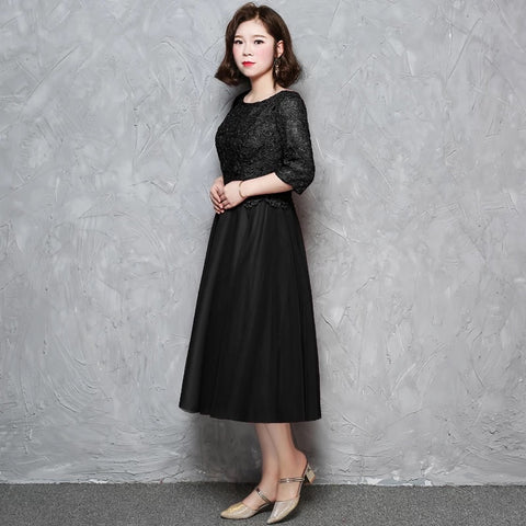 Little Black Plus Sleeved Dress (XL Upwards) - Gowns.sg