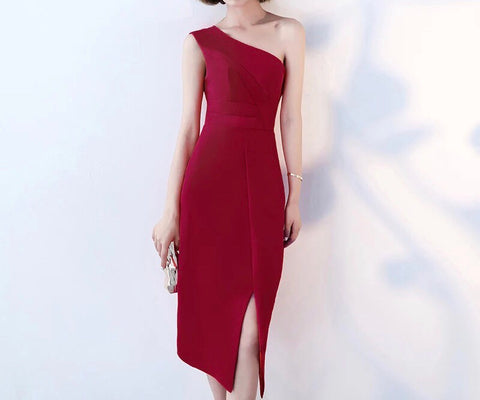 Sleek One Shoulder Dress - Gowns.sg