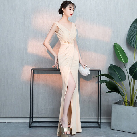 Nude Wrap Gown - Gowns.sg