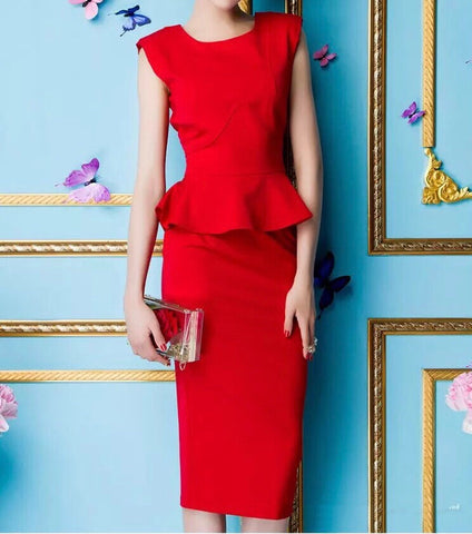 Waist Peplum Work Dress in Fire (S-XL) - Gowns.sg