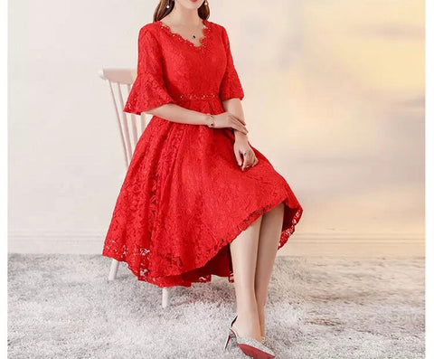 Lace Mini Gown in Red (XL Onwards) - Gowns.sg