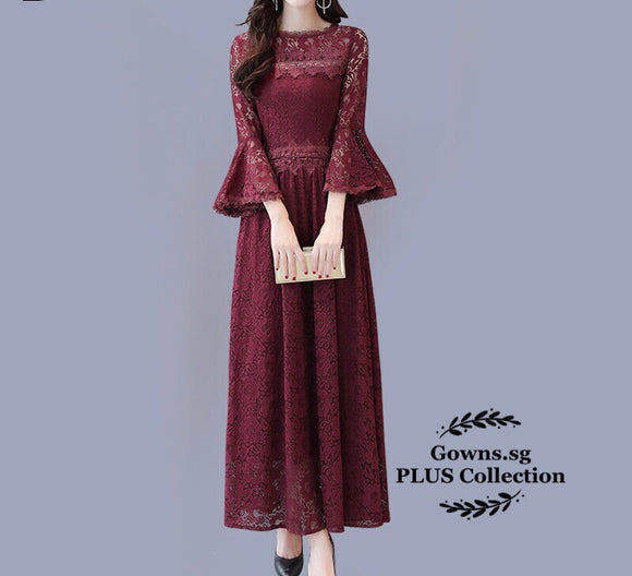 Malik Lace Dress (M-5XL) - Gowns.sg
