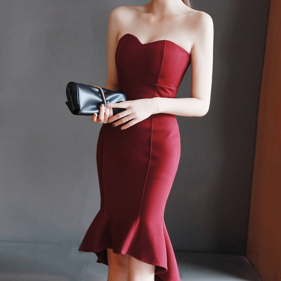 <best><EG032>Wine red Mini gown - Gowns.sg