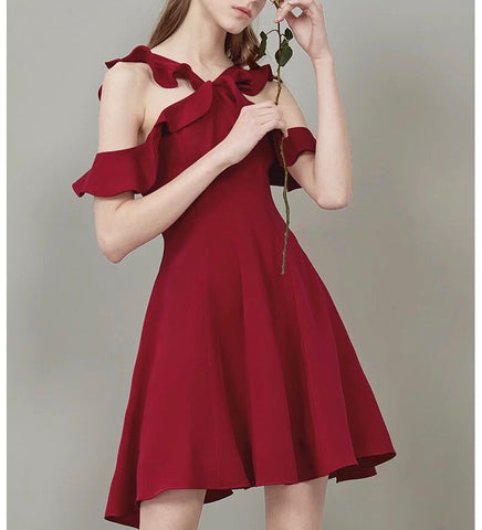 Ruffle Cut-Out Flare Dress (S/M/L) - Gowns.sg