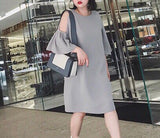 Cut Out Plus Dress in Grey (L-3XL) - Gowns.sg