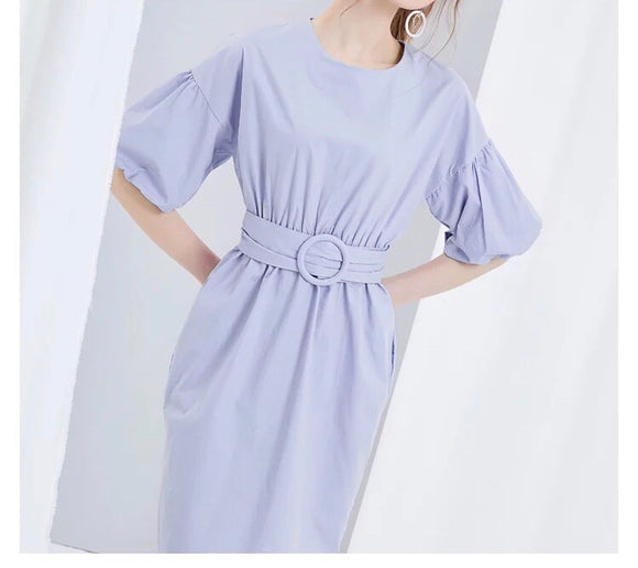Belted Poof Sleeve Dress (XS-L) - Gowns.sg