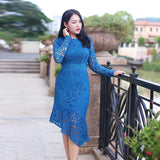 Asymmetric Lace Sleeve Dress (L to 4XL) - Gowns.sg