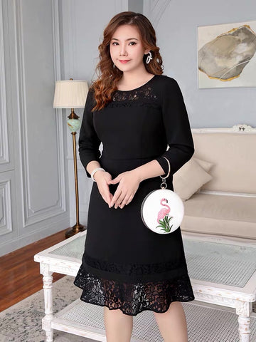 ANGELIKA Lace Sleeve Dress - Gowns.sg