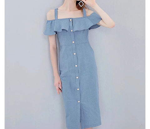 Denim Cut Out Button Dress (XS-L) - Gowns.sg