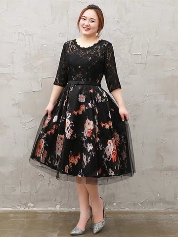 Flowery Bottom Sleeve Plus Dress (XXL Upwards)