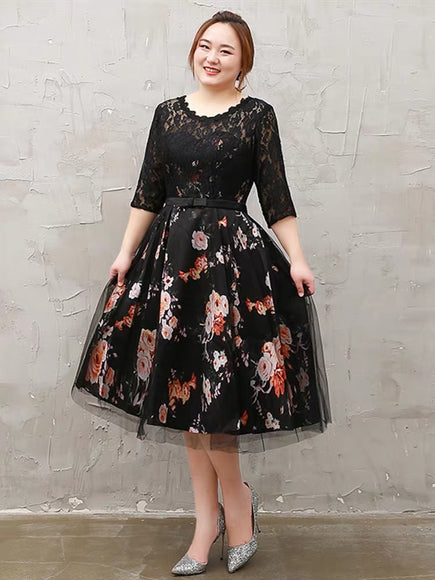 Flowery Bottom Sleeve Plus Dress (XXL Upwards) - Gowns.sg