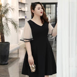 Classic Sleeves Black Plus Dress (3XL Upwards) - Gowns.sg