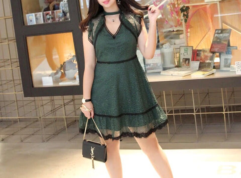 Panel Collar Lace Dress (L-4XL)