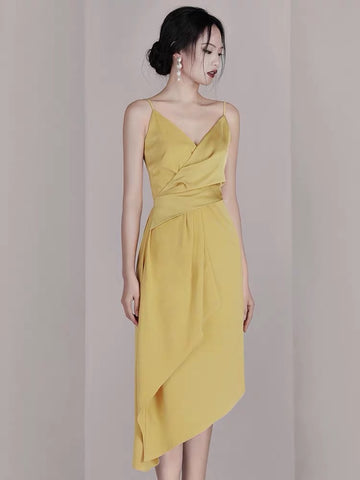 BEAUTRICE Draped Overlap Dress - Gowns.sg