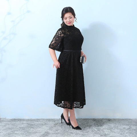 Justina Collar Lace Plus Dress (XL-5XL) - Gowns.sg