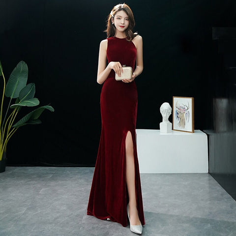 Amilus Velvet Side Cut Out Gown - Gowns.sg