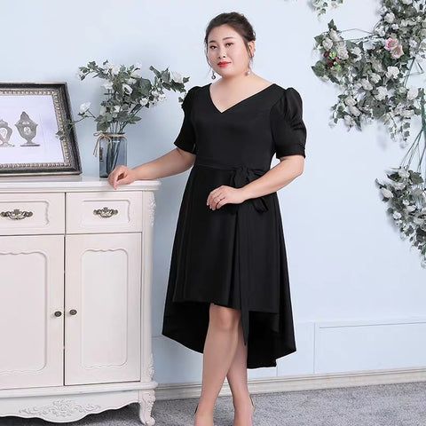 Puff Sleeve Asymmetrical Hem Dress (XL Upwards)
