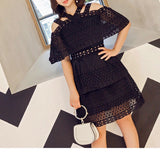 Tier Lace Dress (L-4XL) - Gowns.sg