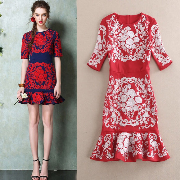 Embroidery Sleeve dress - Gowns.sg