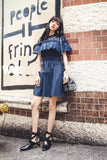Navy pleated front dress (Like self portrait) - Gowns.sg